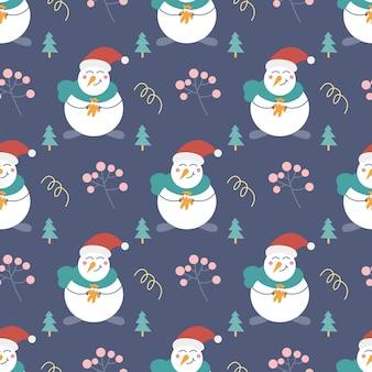 Bonhomme de neige avec un cadeau sapins de noël et autres éléments décoratifs modèle sans couture de vecteur