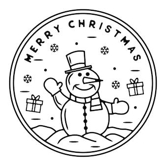 Bonhomme de neige avec des cadeaux de noël design d'insigne extérieur vintage monoline