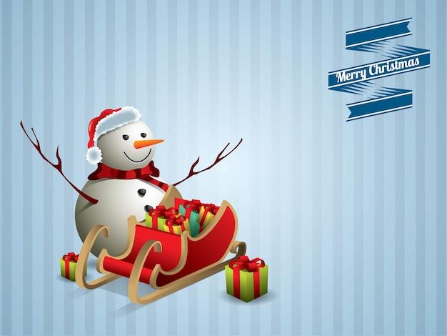 Bonhomme de neige et carte postale de traîneau