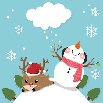 Bonhomme de neige et cerf.