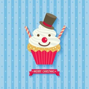 Bonhomme de neige cupcake noël