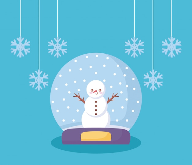 Bonhomme de neige dans la neige de noël