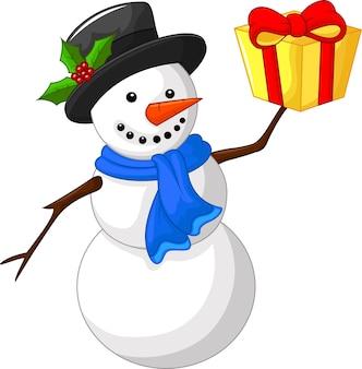 Bonhomme de neige dessin animé mignon avec cadeau