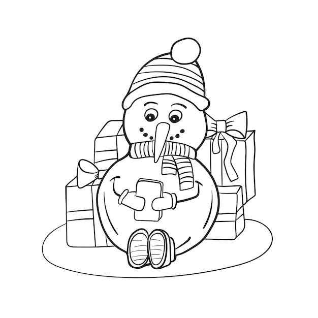 Bonhomme de neige drôle à colorier décrit. page de livre de coloriage pour des enfants - bonhomme de neige avec le téléphone portable dans des mains
