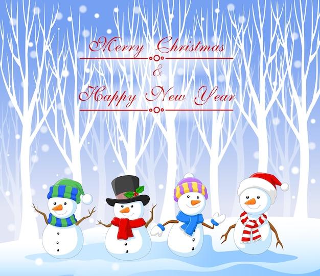 Bonhomme de neige drôle de dessin animé avec fond de noël