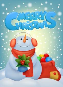 Bonhomme de neige drôle de noël dans des cache-oreilles. modèle de carte d'invitation.