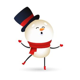 Bonhomme de neige drôle portant un chapeau noir