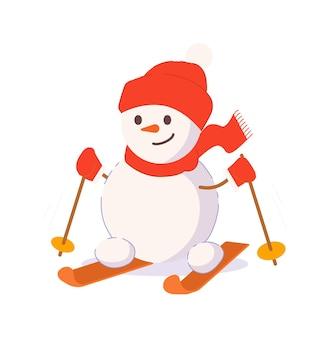 Bonhomme de neige drôle ski isolé sur fond blanc