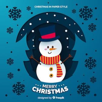 Bonhomme de neige avec fond de chapeau et écharpe