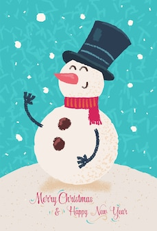 Bonhomme de neige heureux. affiche de fond de carte de voeux de noël.