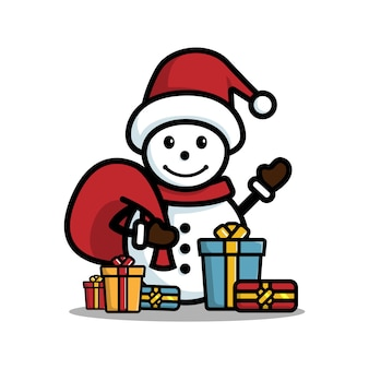 Bonhomme de neige heureux avec cadeau isolé sur fond blanc