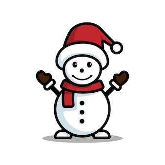 Bonhomme de neige heureux avec chapeau et écharpe isolé sur fond blanc