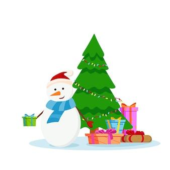 Un bonhomme de neige heureux distribue des cadeaux à côté du sapin de noël. illustration de dessin animé de vecteur