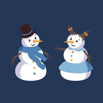 Bonhomme de neige heureux et femme de neige avec visage, chapeau, carotte et écharpe