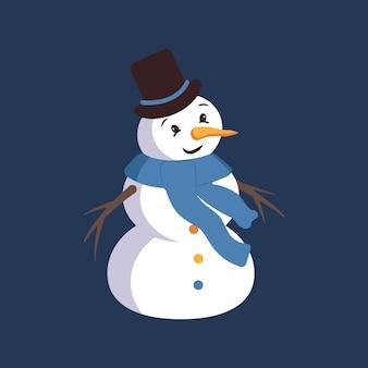 Bonhomme de neige heureux avec le visage, le chapeau, la carotte et l'écharpe