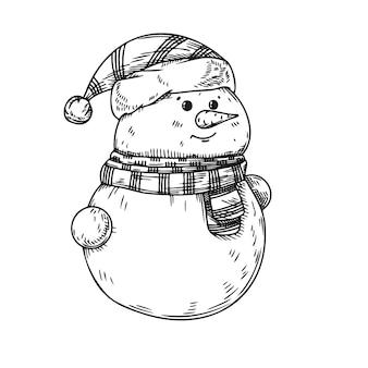 Bonhomme de neige isolé. croquis, illustration dessinée à la main