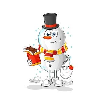 Bonhomme de neige mange la mascotte de dessin animé de chocolat