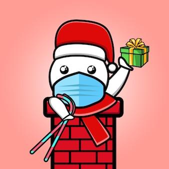 Bonhomme de neige mignon apporte un cadeau et un dessin animé de canne en bonbon
