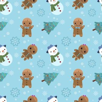 Bonhomme de neige mignon avec arbre de noël et modèle sans couture de biscuits en pain d'épice.
