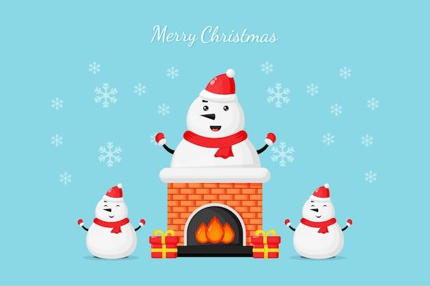Bonhomme de neige mignon sur la cheminée vous souhaite un joyeux noël
