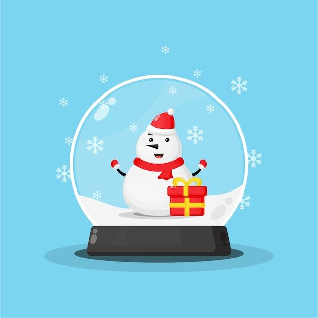 Bonhomme de neige mignon dans une boule à neige