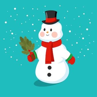 Bonhomme de neige mignon dans un chapeau, écharpe et mitaines personnage drôle de dessin animé sur fond.