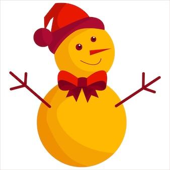 Bonhomme de neige mignon dans un chapeau rouge et un noeud papillon illustration sur fond blanc nouvel an