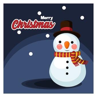 Bonhomme de neige mignon, dessin animé, noël, carte