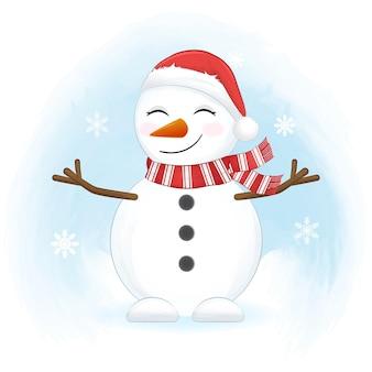 Bonhomme de neige mignon et flocon de neige en hiver, illustration de noël.
