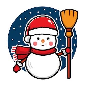 Bonhomme de neige mignon avec le personnage de dessin animé de santa hat illustration de concept de noël