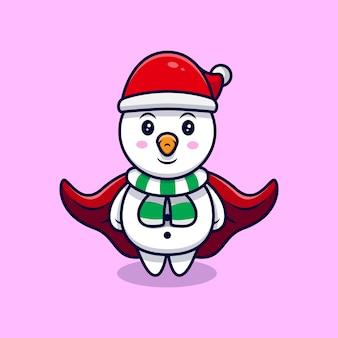Bonhomme de neige mignon portant une illustration de dessin animé de mascotte de manteau.