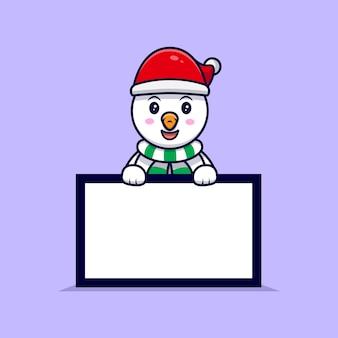 Bonhomme de neige mignon tenant une illustration de dessin animé de mascotte de tableau de texte vierge.
