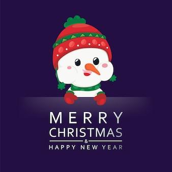 Bonhomme de neige mignon avec texte sur fond sombre.