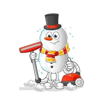 Bonhomme de neige nettoyer avec une mascotte de dessin animé aspirateur