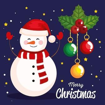 Bonhomme de neige de noël avec décoration de feuilles et de boules, bannière de nouvel an et conception de célébration joyeux noël