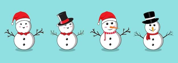 Bonhomme de neige de noël sertie de visages souriants et de chapeaux. collection de bonhomme de neige plat sur fond bleu. conception plate de bonhomme de neige de noël avec des branches d'arbre, des boutons, un noeud papillon, un foulard et des nez de carotte.