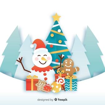 Bonhomme de neige et présente style de papier de saison