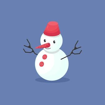 Bonhomme de neige avec seau sur la tête isolé sur fond bleu élément hiver drôle de bande dessinée