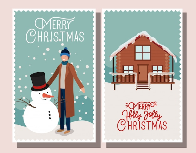 Bonhomme de neige avec timbres de noël homme et maison