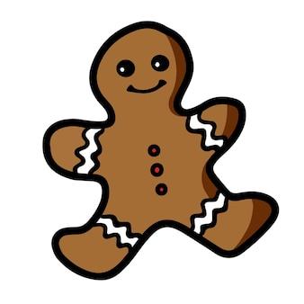 Bonhomme de pain d'épice de biscuits de noël mignons avec un sourire