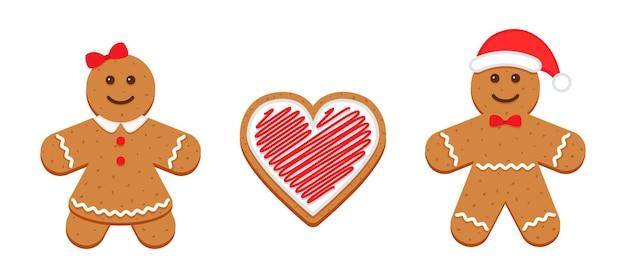 Bonhomme en pain d'épice, femme et coeur. biscuits de noël classiques. illustration de biscuit de noël