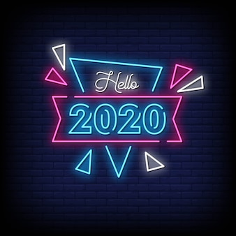 Bonjour 2020 neon signs style texte