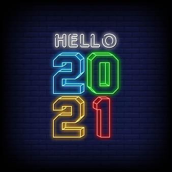 Bonjour 2021 texte de style d'enseignes au néon