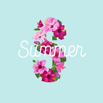 Bonjour affiche d'été. design floral avec fleurs d'hibiscus pourpres pour t-shirt