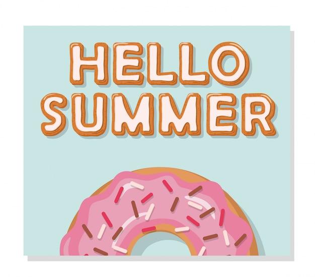 Bonjour affiche d'été. faire fondre des bonbons.
