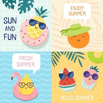 Bonjour affiche d'été. fruits drôles, ananas en lunettes de soleil et ensemble d'illustration de bannière de fête de plage de fruits tropicaux