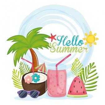 Bonjour affiche d'été avec des icônes de vacances