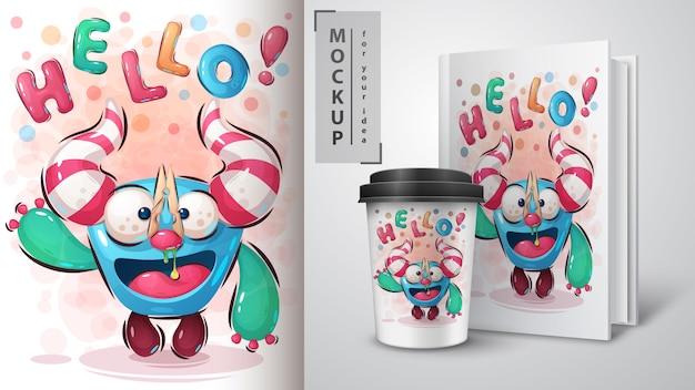 Bonjour affiche monstre et merchandising
