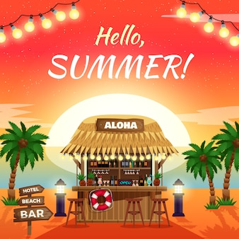 Bonjour affiche tropicale lumineuse d'été