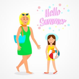 Bonjour affiche de voyage de lettrage d'été, carte postale.